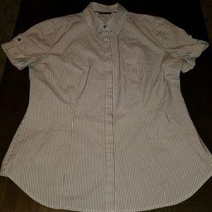 Women's pinstripe button down shirt sleeve top